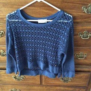 Abercrombie Blue crochet sweater